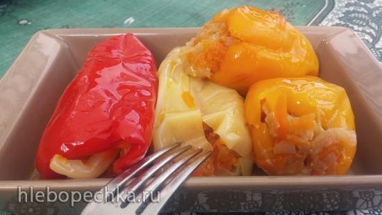 Болгарский перец, фаршированный томлеными овощами, квашеный