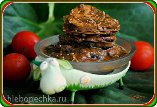 Баклажаны быстрого маринования в пряном томатном соусе