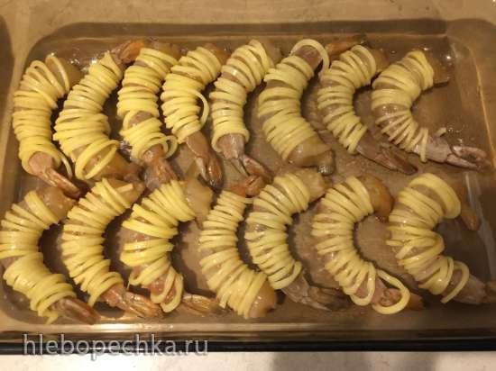 Креветки в спирали из картошки