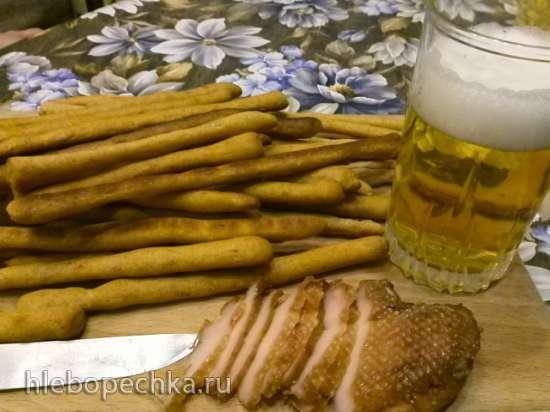 Гриссини пшенично-ржаные с луком и кунжутом