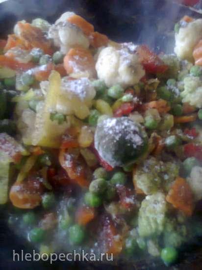 Куриные ножки на овощной подушке (Haehnchen-Kartoffel-Gemuese-Pfanne)