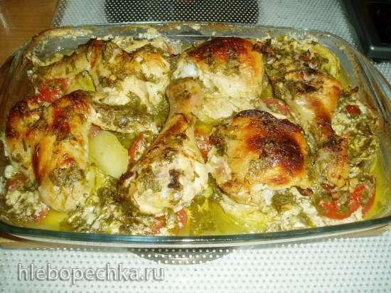 Курица, маринованная в кефире, запеченная с овощами