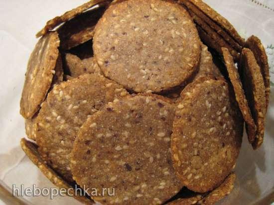Крекеры из цельнозерновой муки с семенами подсолнечника, льна и кунжута (Peter Reinhart)