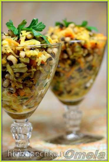 Теплый салат с фасолью «Черный глаз»