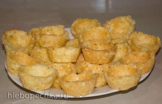 Тарталетки рисовые (тарталетница First) с курицей,  соусом типа тар тар и сыром