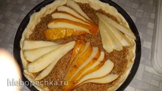 Песочный пирог с грушами и марципаном