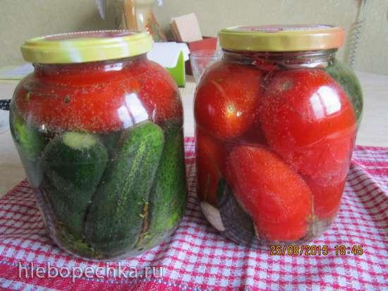 Огурцы и помидоры, консервированные в газированной воде