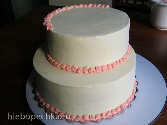 Разрезание бисквита на коржи и выравнивание торта