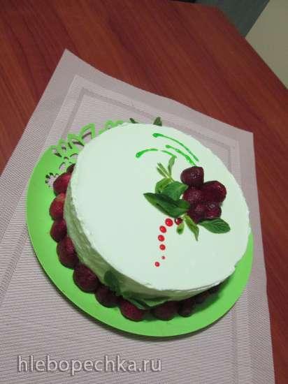 Торт мятный с белым шоколадом и баварским муссом