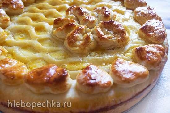 Дрожжевой пирог с творожно-маковой начинкой