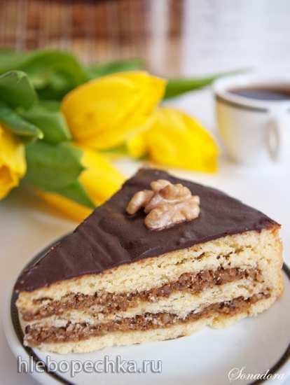Пирог песочный с грецкими орехами