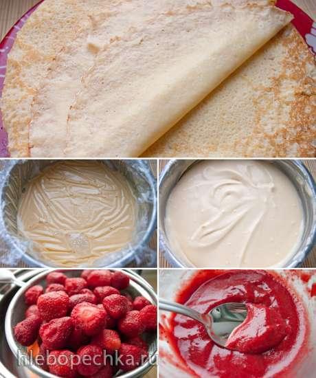 Блинный торт с заварным кремом, маскарпоне и ягодным соусом