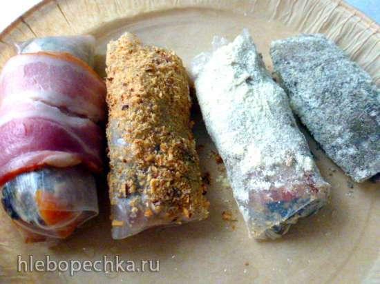 Рулетики из рисовой бумаги с каштанами, сухофруктами в разнообразной панировке и без