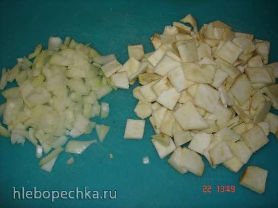 Жареный сельдерей с грибами (постное блюдо) в скороварке Polaris 0305