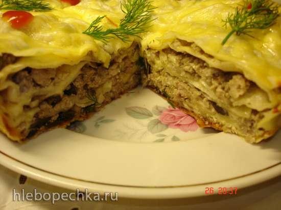 Пирог из лаваша с мясом и грибами в скороварке Polaris 0305