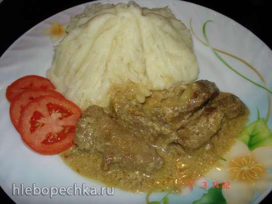 Говяжья печень в сметанном соусе в дуэте с картофелем (скороварка Polaris 0305)