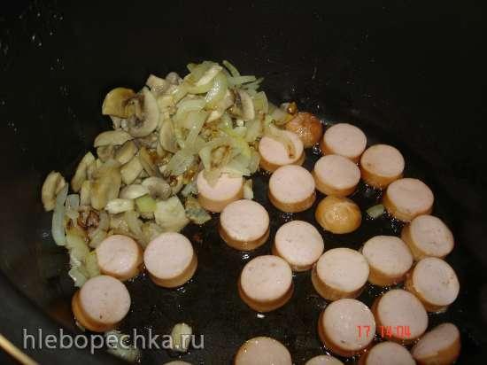 Гречневая каша с сосисками и грибами (скороварка Polaris 0305)
