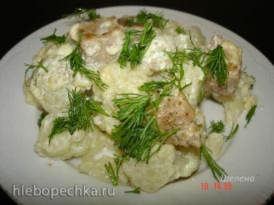 Блюдо-минутка из цветной капусты с фаршем и сыром в скороварке Polaris 0305