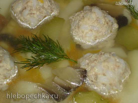 Cуп «Волшебный горшочек» с фрикадельками, грибами и солёным огурцом (скороварка Polaris 0305)