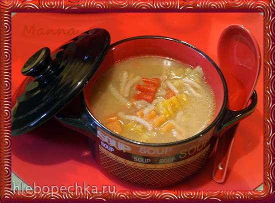 Овощной суп на грибном бульоне с клецками из заварного гречневого теста (мультиварка KitchenAid)