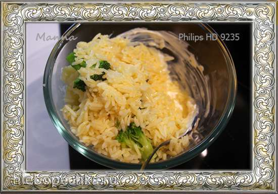 Рисовая запеканка с брокколи и цветной капустой под сырным соусом в мультипечи Philips HD9235