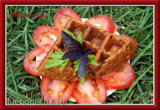 Томатные вафли с тофу и базиликом (вафельница KitchenAid Artisan)