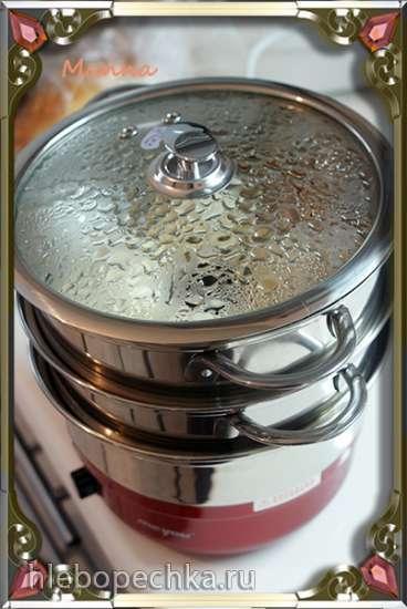 Творожные равиоли с вишней на пару
