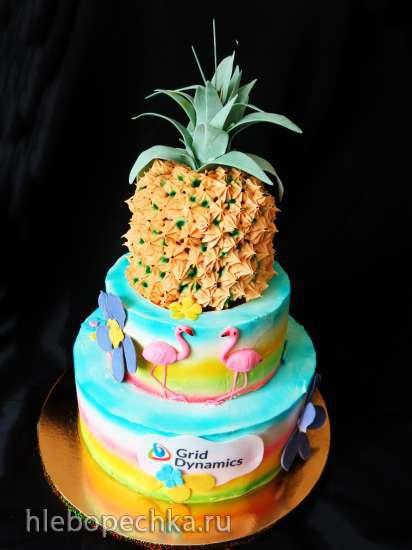 Торт «Ананас 3Д» (мастер-класс)