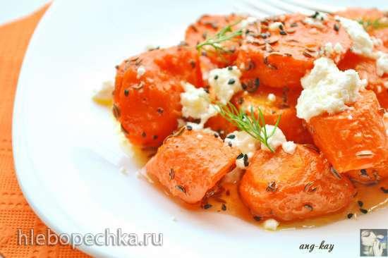 Запеченная морковь с медово-лимонным соусом и козьим сыром