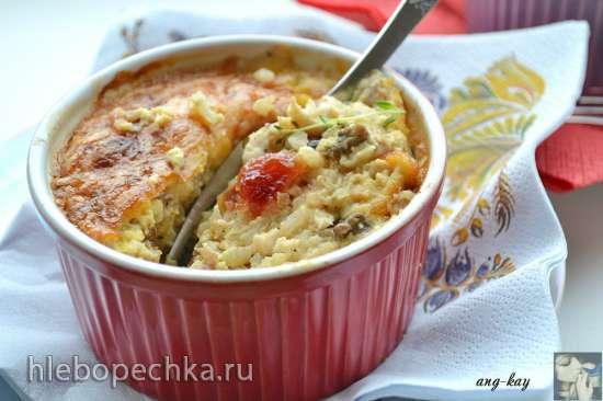 Порционная запеканка с рисом, курицей и черносливом