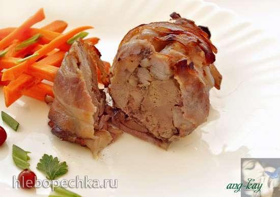Куриные голени, фаршированные печенью