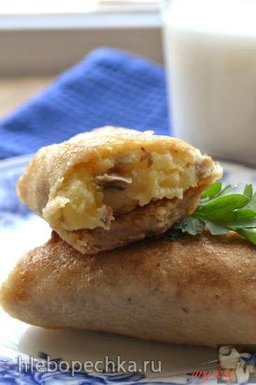 Блины постные на овсяном молоке с картофелем и грибами