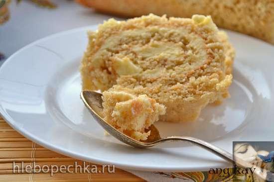 Бисквитный рулет с сухарями и масляным кремом