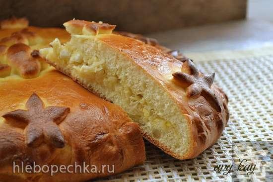 Пирог с капустой, яйцами и сыром