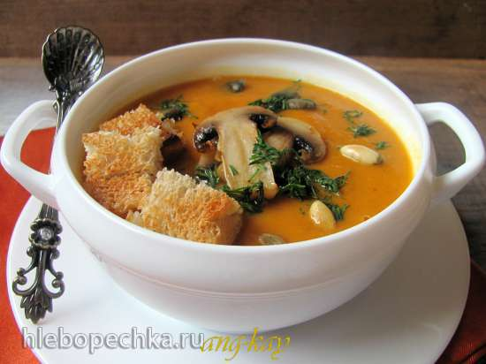 Суп-пюре тыквенный с грибами (постный)