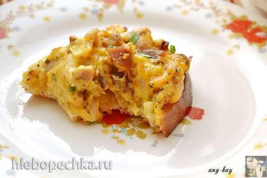 Горячие бутерброды с копченой курицей и сыром