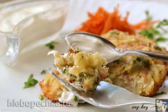 Капустные оладьи с ветчиной и сыром