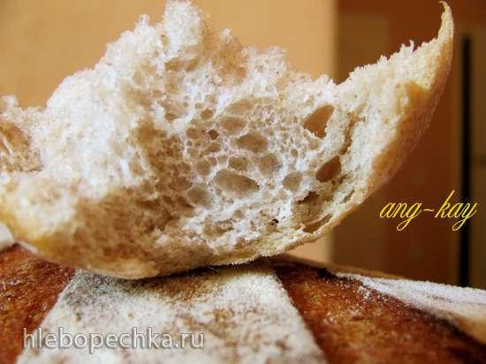Хлеб пшенично ржаной заварной на закваске и фруктовых дрожжах