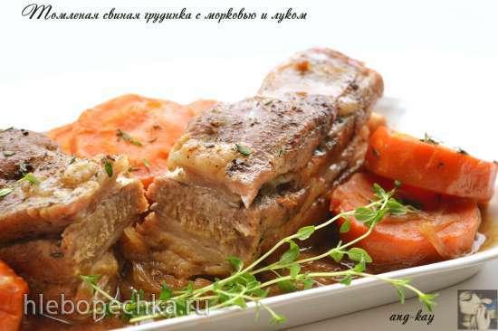 Томленая свиная грудинка с морковью и луком