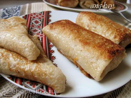 Блины на рисовом молоке с начинкой из риса (постные)