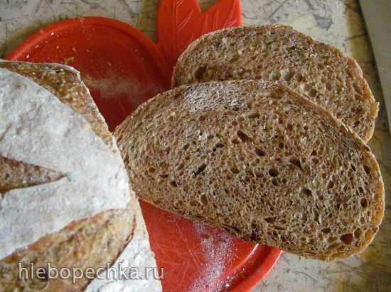 Хлеб с кунжутом и льном на ржаной закваске