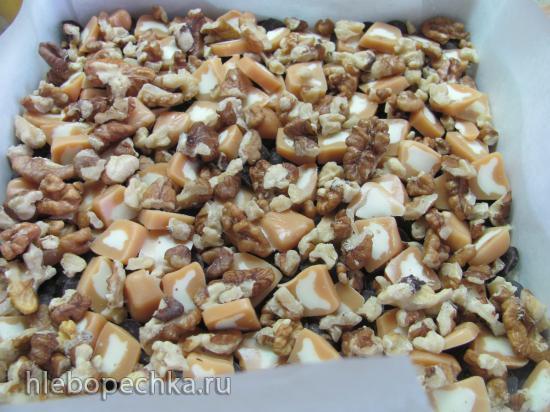 Бары тоффи с орехами, шоколадом и кокосом