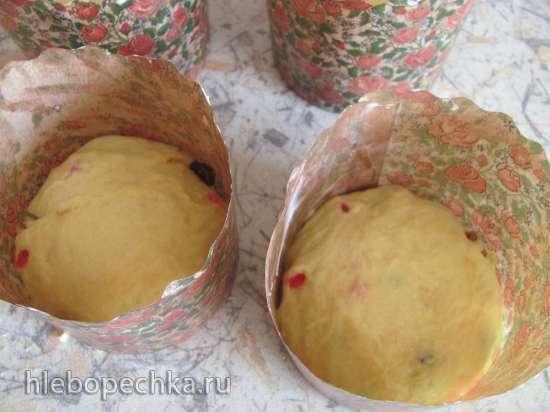 Творожный пасхальный кулич с изюмом и цукатами