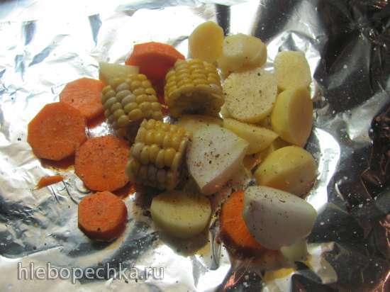 Куриные окорочка с овощным ассорти