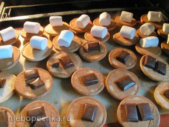 Печенье банановое с шоколадом и маршмеллоу
