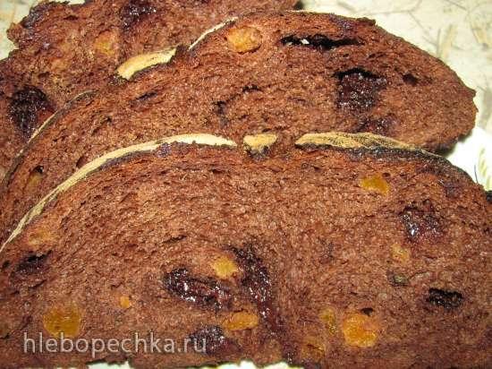Шоколадный хлеб на закваске с курагой