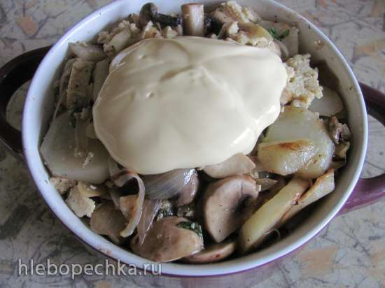 Картофельная запеканка с грибами и тофу (постная)