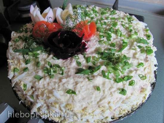 Закусочный торт Наполеон с рыбной начинкой