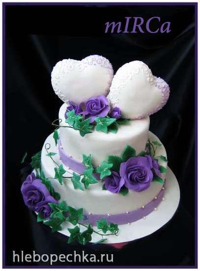 Объемное сердце для свадебного торта