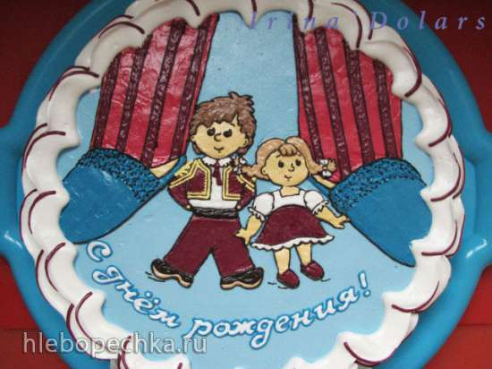 Рисунки и надписи на торте
